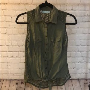 Maurice's green button down vest